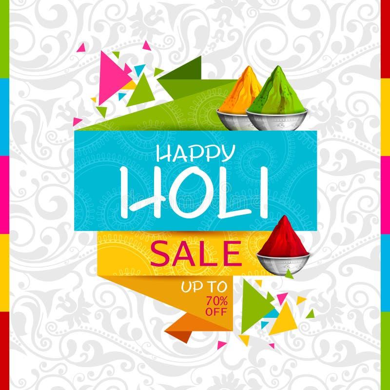 Bunter glücklicher Hoil-Verkaufsförderungs-Einkaufsanzeigenhintergrund für Festival von Farben in Indien lizenzfreie abbildung
