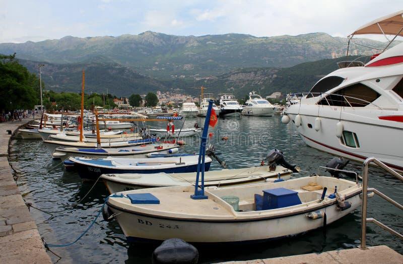 Bunter Hafen Тhe von Budva, Montenegro stockfoto