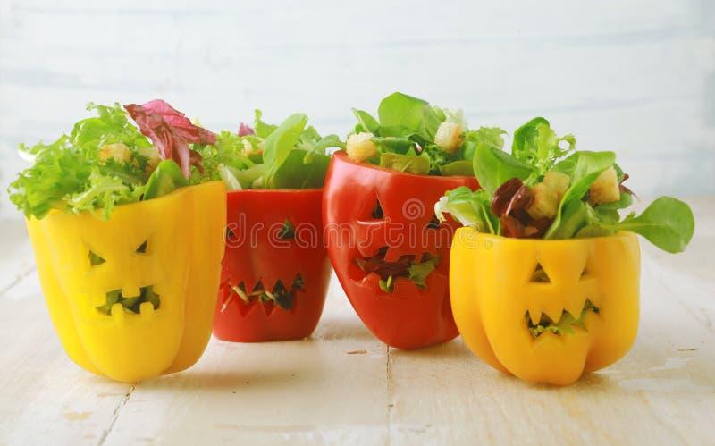 Bunter Halloween-Lebensmittelhintergrund stockbild