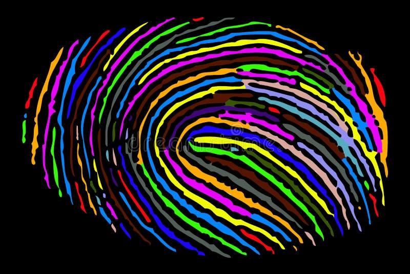 Bunter heller Fingerabdruck vektor abbildung