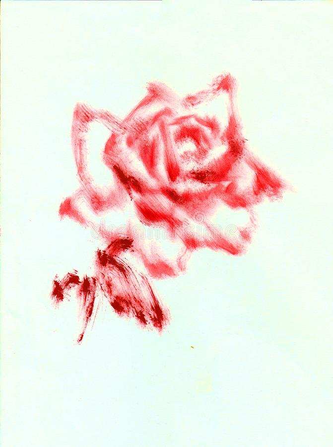 Bunter heller strukturierter abstrakter Hintergrund des Aquarells handgemacht Modernes Blumenmuster Einzelne rote Rose stockfotos