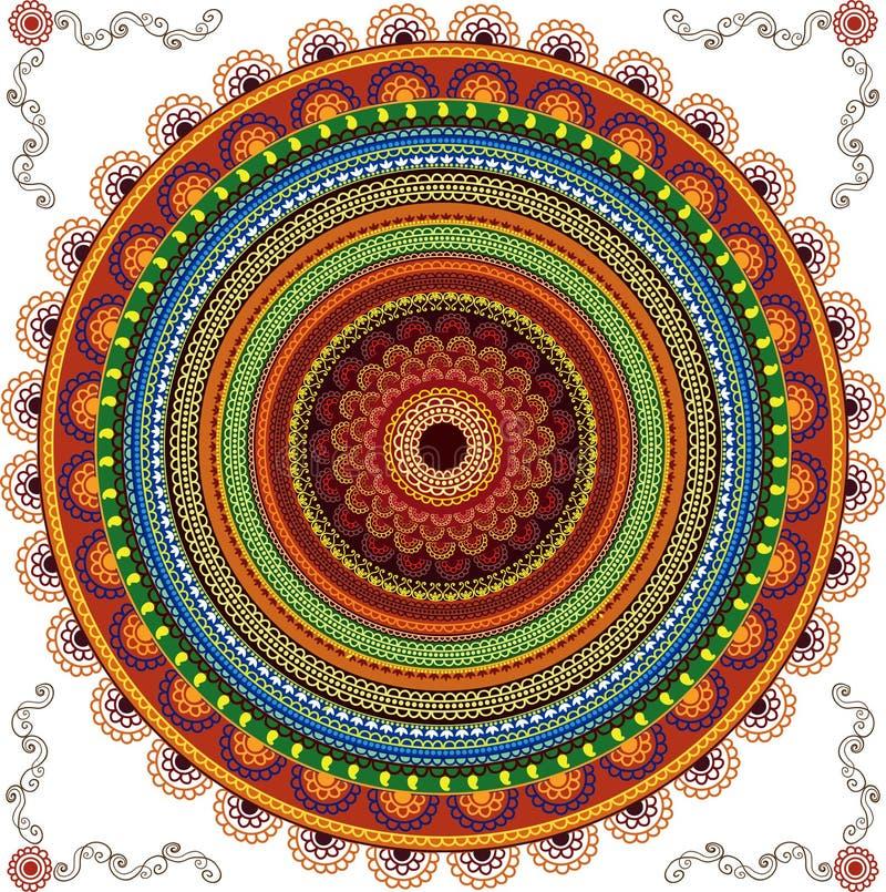 Bunter Hennastrauch-Mandala-Hintergrund stock abbildung