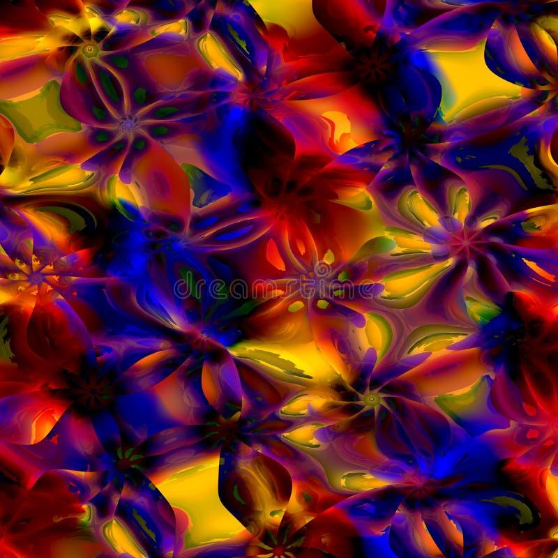 Bunter Hintergrund der abstrakten Kunst Computererzeugtes Blumenfractal-Muster Digital-Design-Illustration Kreatives farbiges Bil stock abbildung