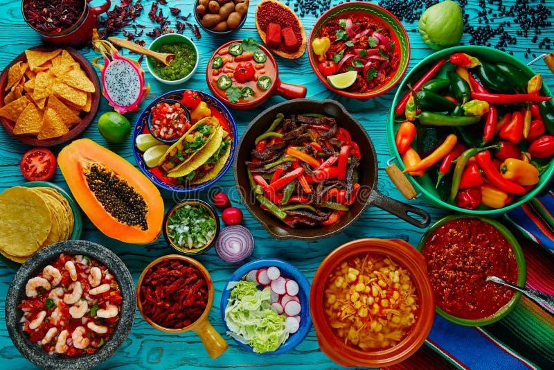 Bunter Hintergrund der mexikanischen Lebensmittelmischung lizenzfreies stockbild
