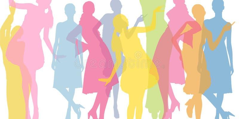 Bunter Hintergrund der Mode Transparente farbige Schattenbilder von Mädchen stock abbildung