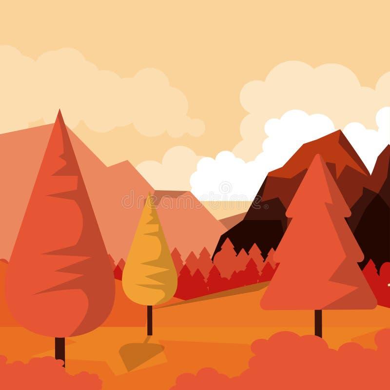 Bunter Hintergrund der Natursonnenunterganglandschaft mit Tal und Bergen vektor abbildung