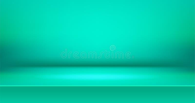 Bunter Hintergrund des klaren Stadiumsraumes, leere Tabellenproduktanzeige mit Raum lizenzfreie abbildung