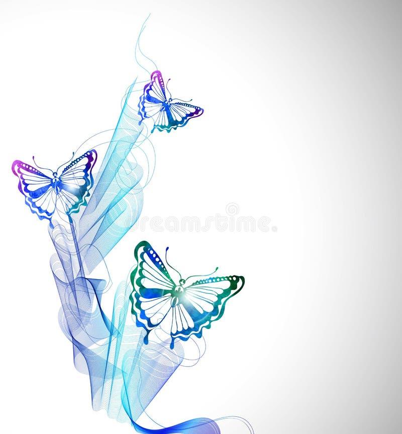 Bunter Hintergrund mit Aquarellschmetterling und abstrakter Welle lizenzfreie abbildung