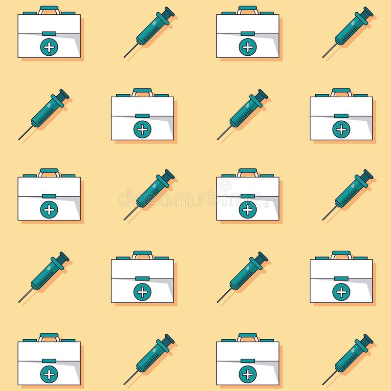 Bunter Hintergrund mit Muster der Ausrüstung und der Spritzen der ersten Hilfe belebt lizenzfreie abbildung