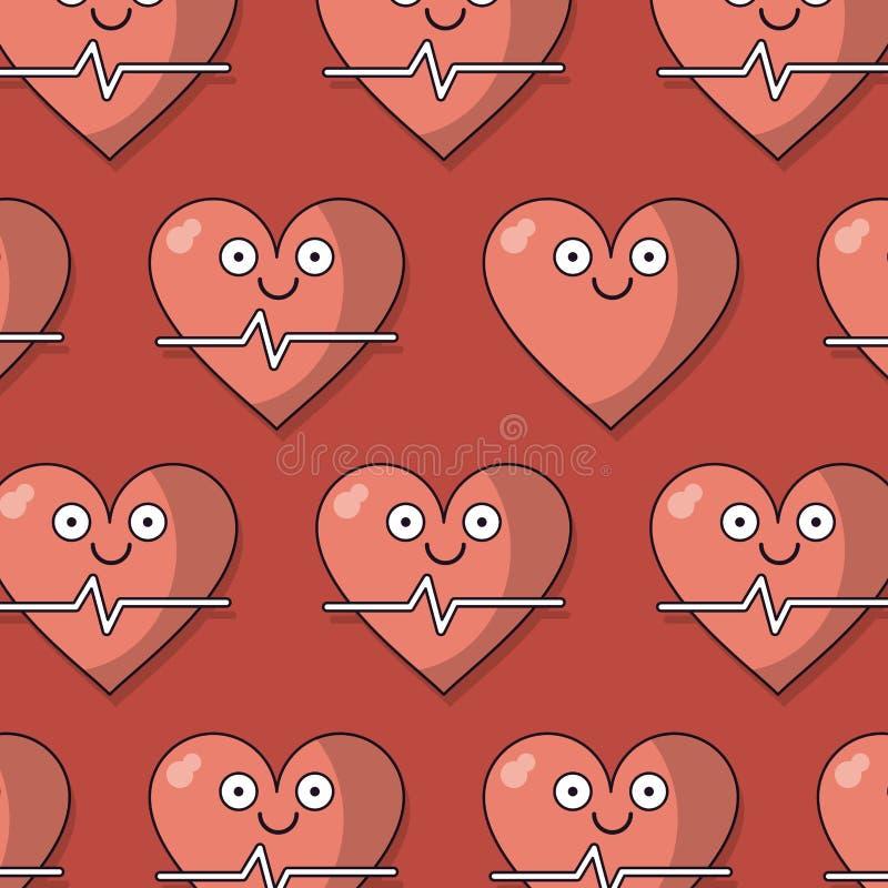 Bunter Hintergrund mit Muster des Herz- und Impulskennzeichens belebt vektor abbildung
