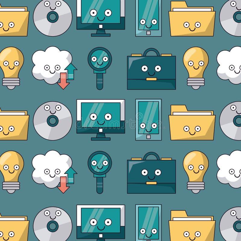 Bunter Hintergrund mit Muster von den Technologieikonen belebt lizenzfreie abbildung