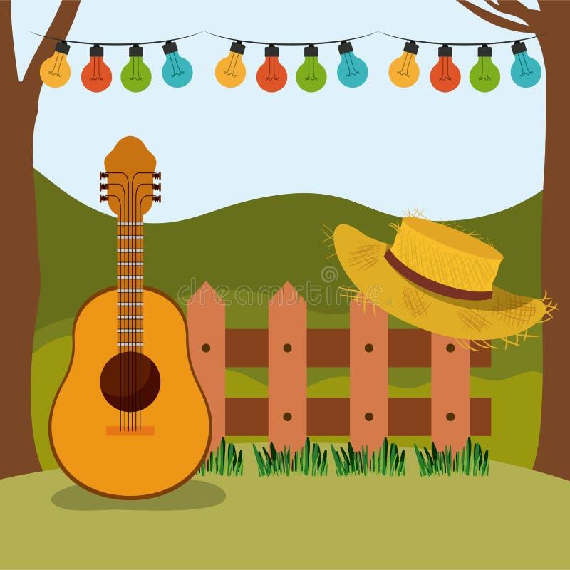 Bunter Hintergrund von festa junina mit ländlicher Landschaft und hölzernem Geländer mit Gitarre und Hut lizenzfreie abbildung