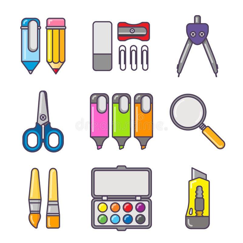 Bunter Ikonensatz des Briefpapiers Schul- und Bürowerkzeuge im weißen Hintergrund lizenzfreie abbildung