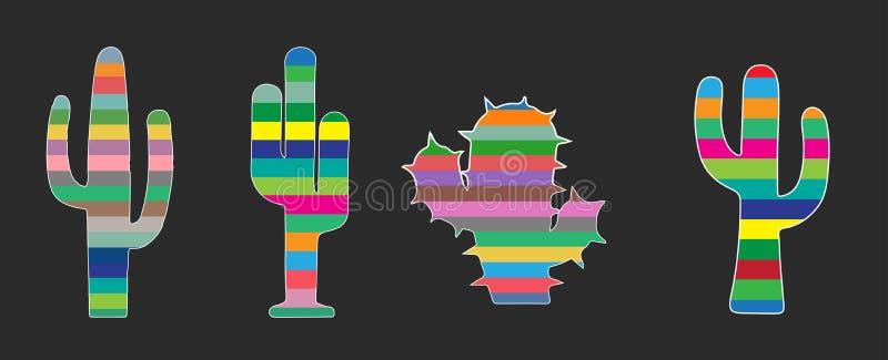 Bunter Kaktus, tropische saftige Anlagen stellte ein, lokalisiert auf schwarzem Hintergrund stockbilder