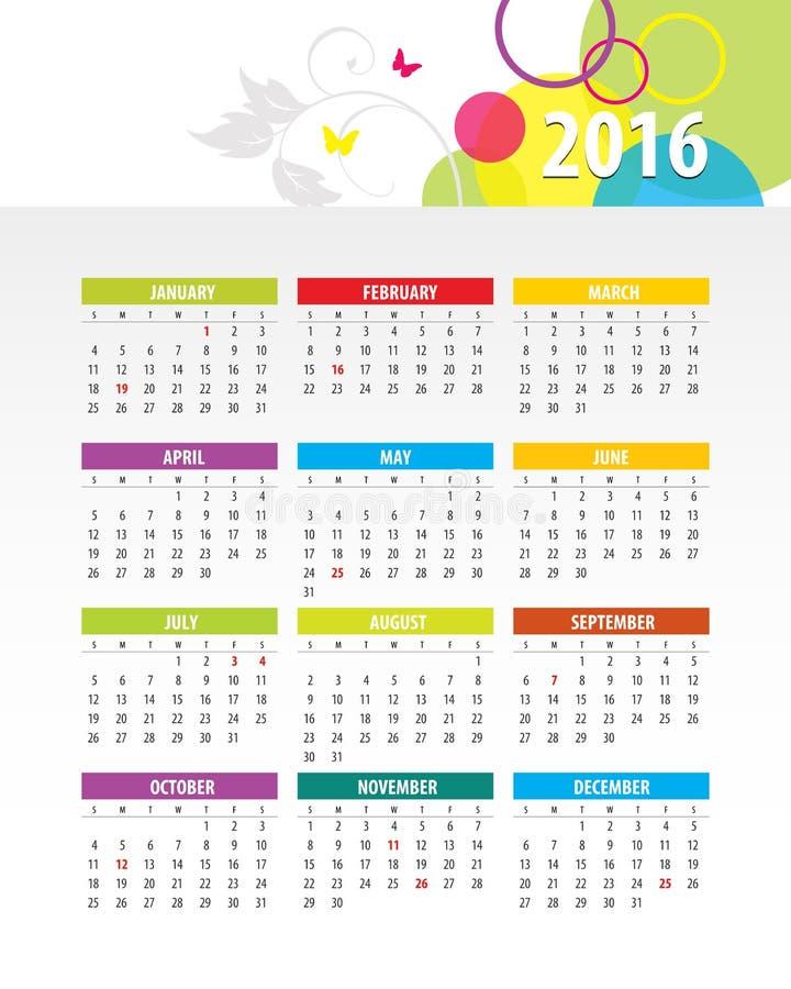 bunter kalender 2016 stock abbildung illustration von. Black Bedroom Furniture Sets. Home Design Ideas