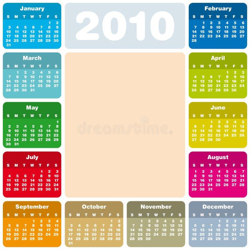 Bunter Kalender für 2010 lizenzfreie abbildung