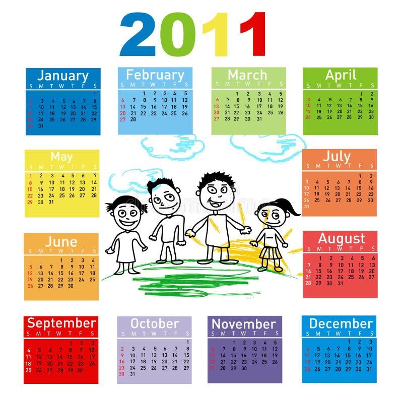 Bunter Kalender für Jahr 2011 vektor abbildung