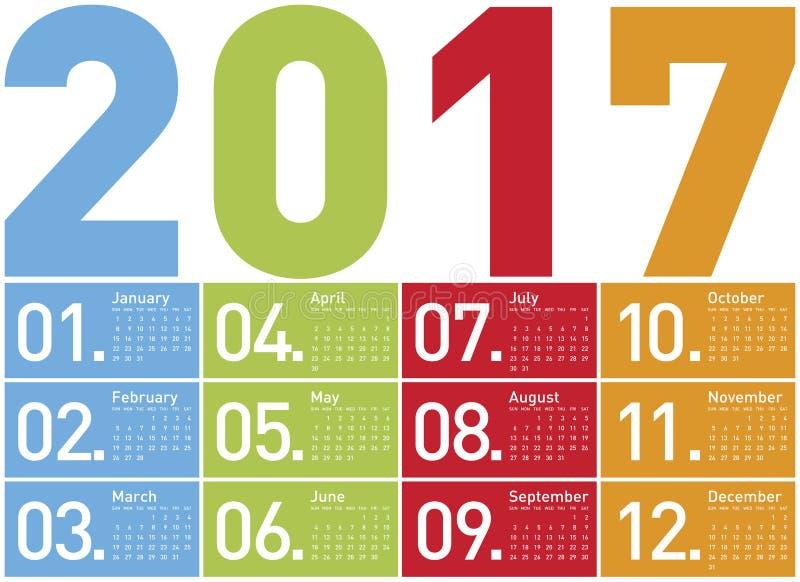 Bunter Kalender für Jahr 2017 lizenzfreie abbildung