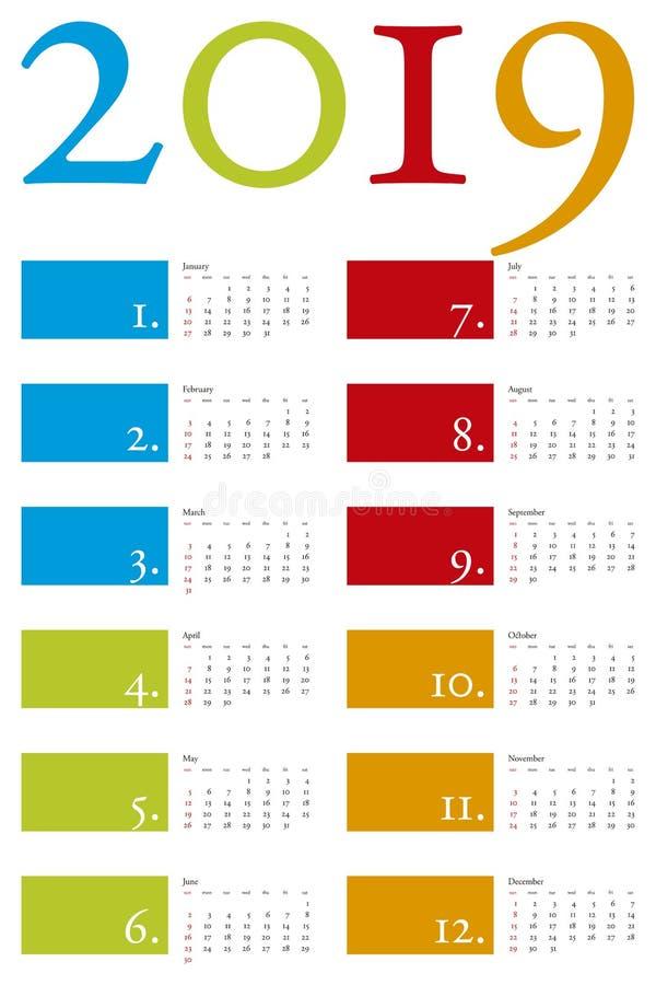 Bunter Kalender für Jahr 2019 im Vektorformat stock abbildung