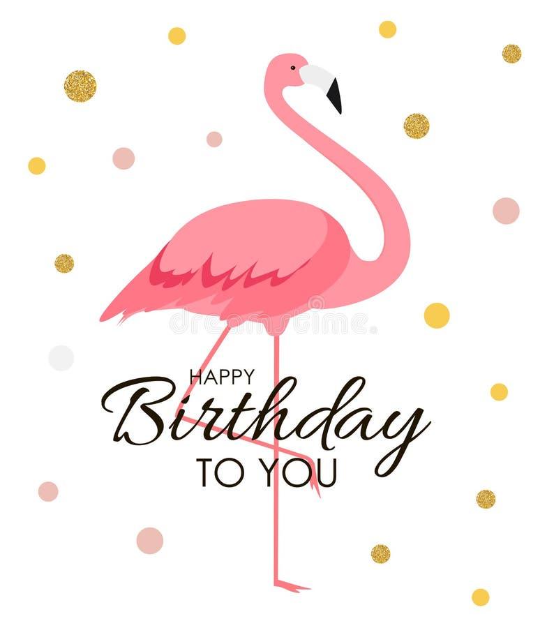 Bunter Karikatur Rosa-Flamingo auf einer schönen Hintergrundgrußkarte für Geburtstagsgrüße Abbildung lizenzfreie abbildung