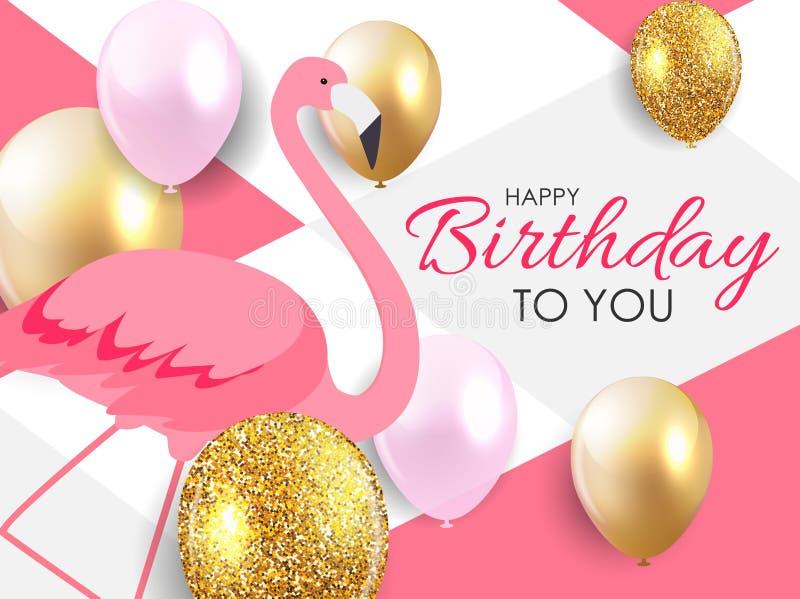 Bunter Karikatur Rosa-Flamingo auf einer schönen Hintergrundgrußkarte für Geburtstagsgrüße Abbildung vektor abbildung