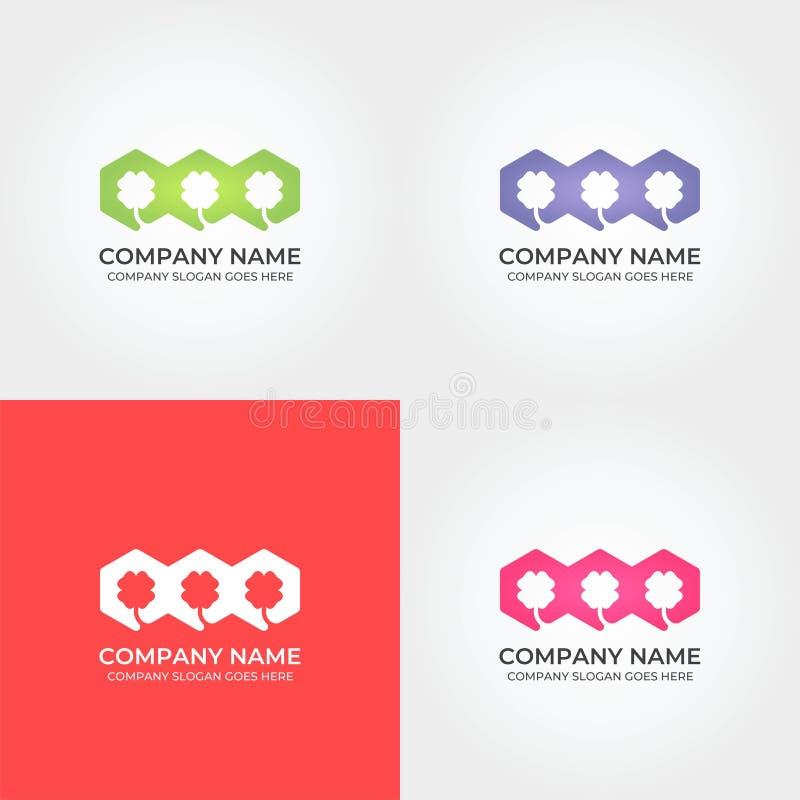 Bunter Klee Logo Icon Template lizenzfreie abbildung