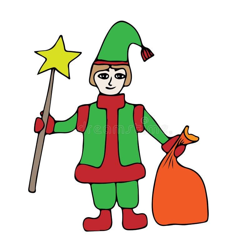 Bunter kleiner Sankt-Helfer mit Stern und Sack mit Geschenken stock abbildung