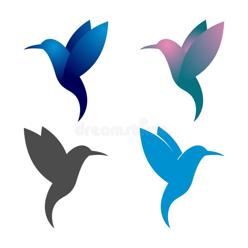 Bunter Kolibri Colibri-Vogel, der Logo Symbol fliegt lizenzfreie abbildung