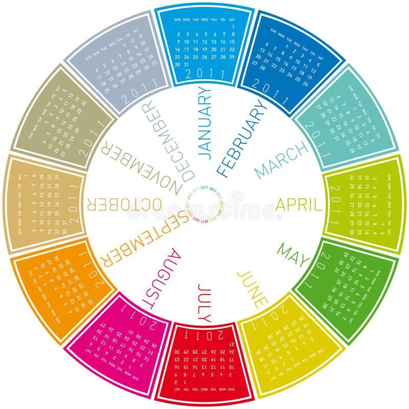 Bunter Kreiskalender 2011 vektor abbildung