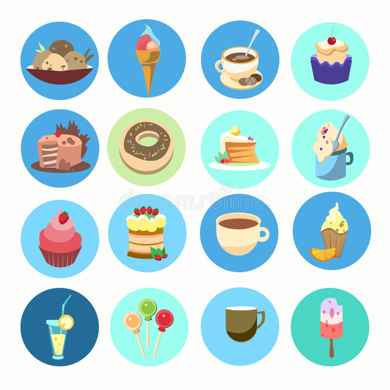 Bunter Kuchen-Sammlungs-Süßspeise-Lebensmittel-Ikonen-Satz stock abbildung