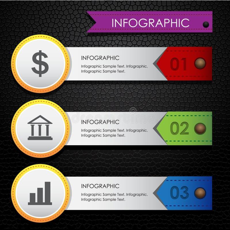 Bunter lederner schwarzer Hintergrund Infographic-Geschäfts vektor abbildung