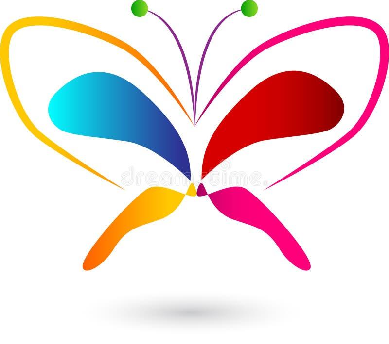 Bunter Logoentwurf des Schmetterlinges vektor abbildung