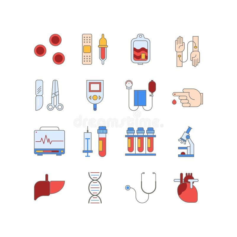 Bunter medizinischer Ikonensatz gemacht in der Linie Art Vektorblut und Herztests pictorgam vektor abbildung