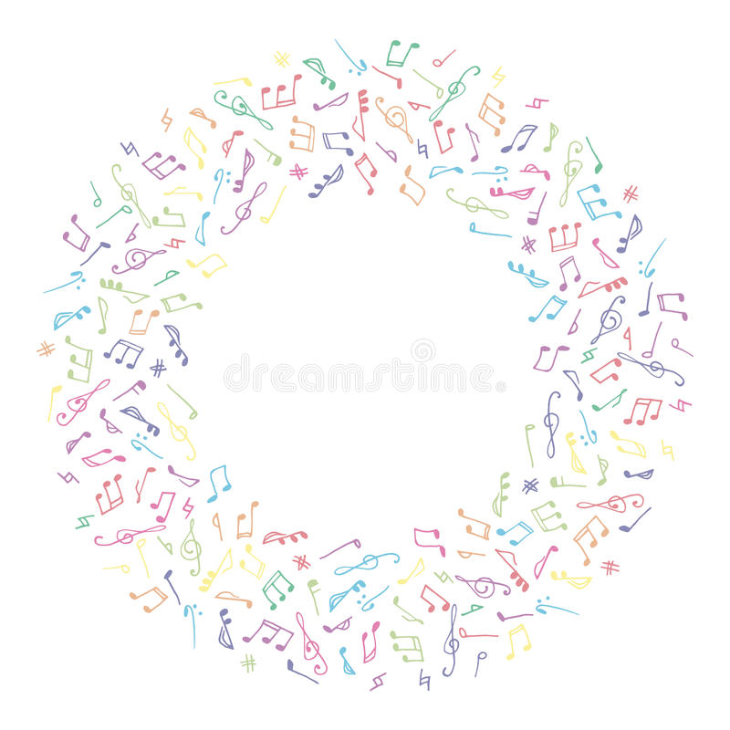 Bunter Musikrahmen des Kreises in der Gekritzelart lizenzfreie abbildung