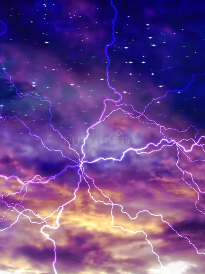 Bunter nächtlicher Himmel mit Lichtbogen von elektrischem stock abbildung