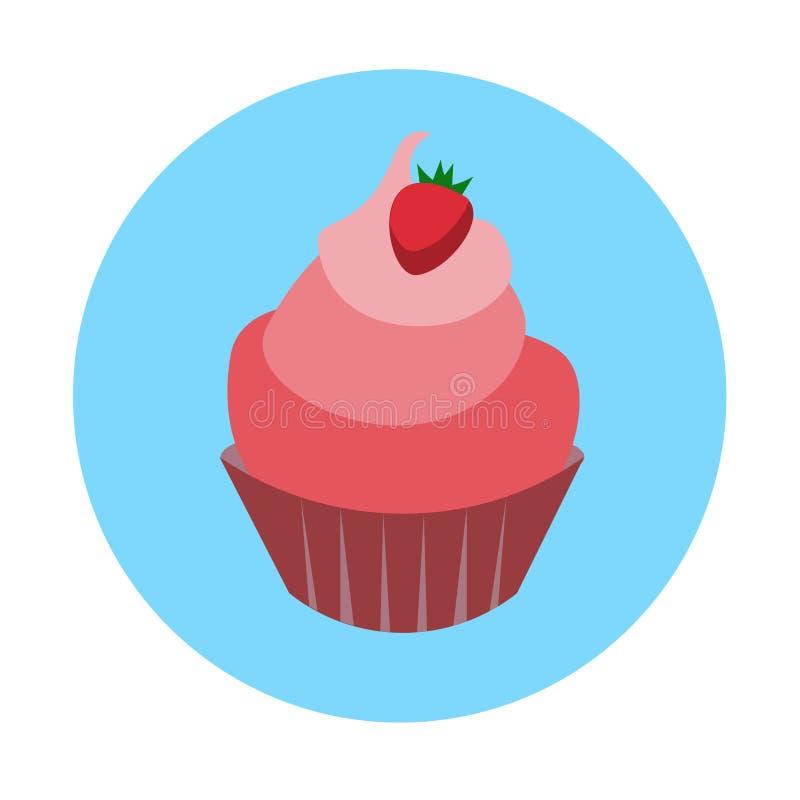 Bunter Nachtisch-flaches Design des Eiscreme-kleinen Kuchens lizenzfreie abbildung