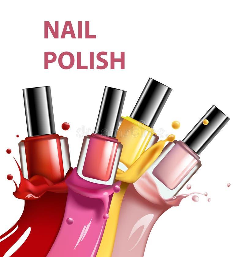 Bunter Nagellack, Nagellack spritzen auf weißen Hintergrund, 3d Illustration, Modeanzeigen für Design Kosmetik und stock abbildung