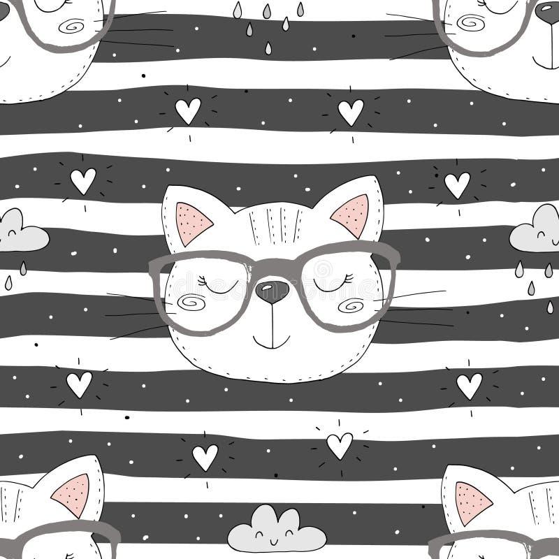 Bunter nahtloser Musterhintergrund der netten Katzen vektor abbildung