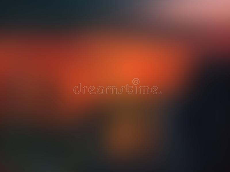 Bunter orange roter und dunkelgrüner abstrakter Hintergrund mit Vignette Abbildung stockfotografie