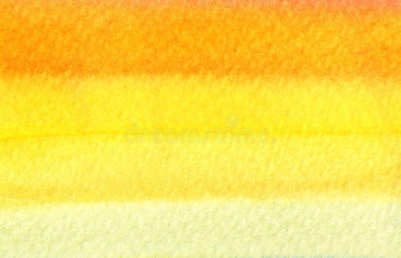 Bunter orange und gelber Aquarellhintergrund - abstrakte Beschaffenheit stock abbildung