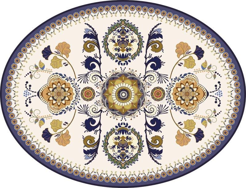 Bunter ovaler persischer Vektorentwurf für Wolldecke, Teppich, Medaillon Geometrischer Blumenhintergrund Arabische Verzierung mit stock abbildung