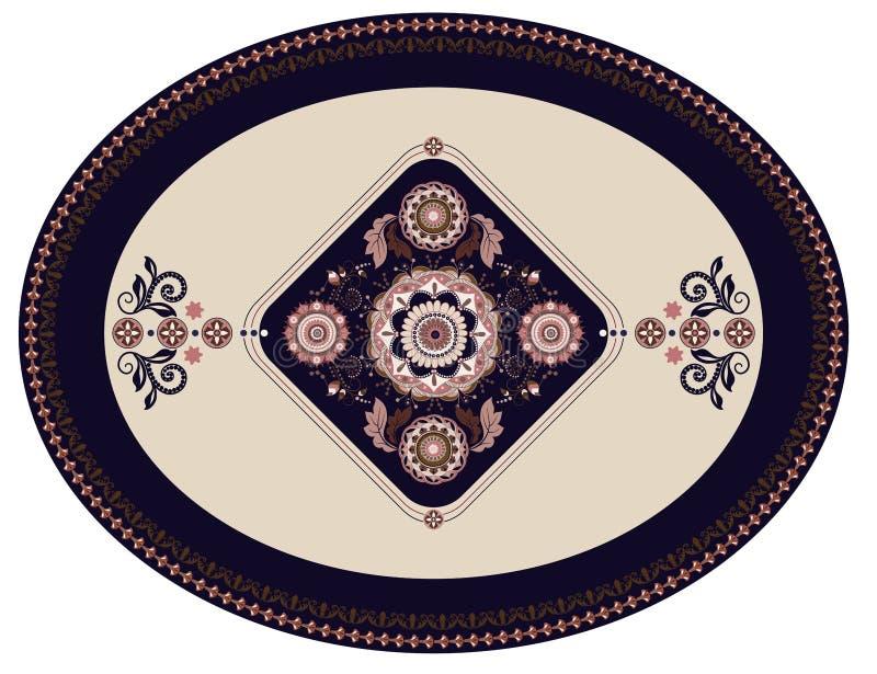 Bunter ovaler persischer Vektorentwurf für Wolldecke, Teppich, Teller, Platte Geometrischer blauer, beige Blumenhintergrund arabi lizenzfreie abbildung
