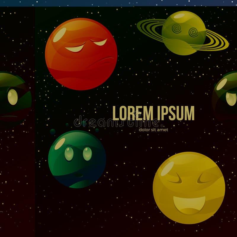 Bunter Planetensatz der lustigen Karikatur lizenzfreie abbildung