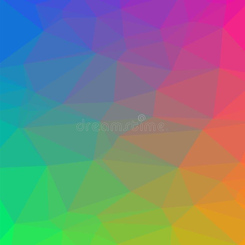 Bunter polygonaler Hintergrund Zerknittertes dreieckiges Muster Niedrige Polybeschaffenheit Abstrakte Mosaikauslegung Origamiart lizenzfreie abbildung