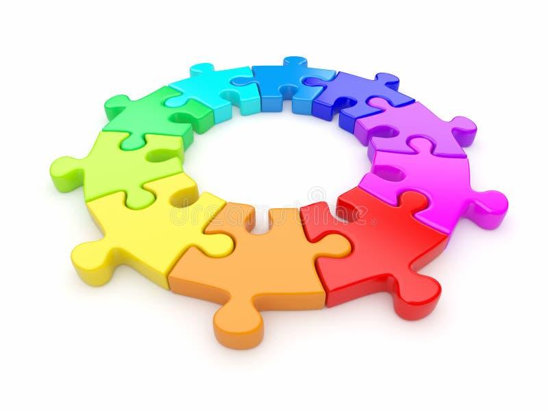 Bunter Puzzlespielring 3D. Mannschaft. Lokalisiert vektor abbildung