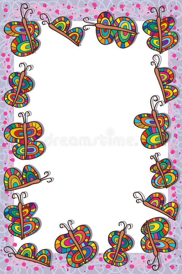 Bunter Rahmen Des Schmetterlinges Vektor Abbildung - Illustration ...
