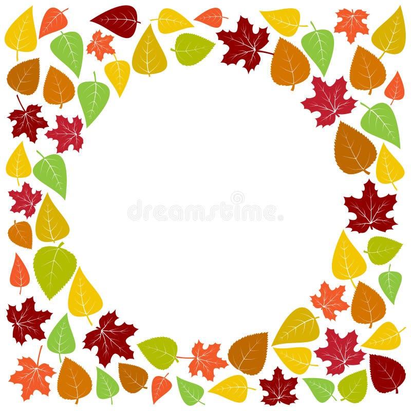 Bunter Rahmen und Hintergrund des Herbstlaubs Auch im corel abgehobenen Betrag lizenzfreie abbildung