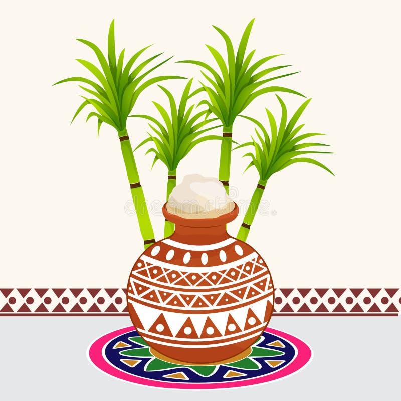 Bunter rangoli und Schlammtopf für das Feiern von glücklichem Pongal lizenzfreie abbildung