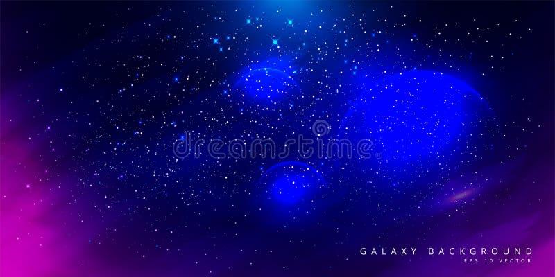 Bunter Raum-Galaxie-Hintergrund mit gl?nzenden Sternen, Stardust und Nebelfleck Vektor-Illustration für Grafik, Parteiflieger, Pl lizenzfreie abbildung