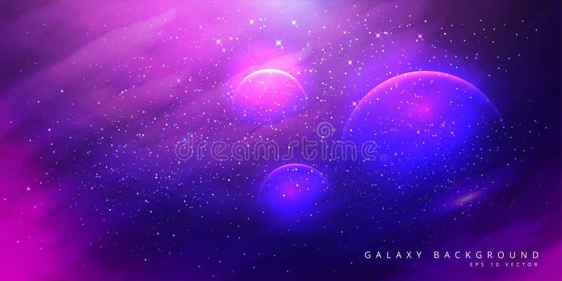 Bunter Raum-Galaxie-Hintergrund mit gl?nzenden Sternen, Stardust und Nebelfleck Vektor-Illustration für Grafik, Parteiflieger, Pl vektor abbildung